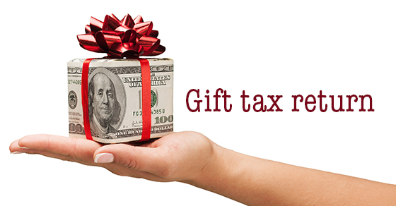 "Dollar bill gift box in red with ""gift tax return"" heading"